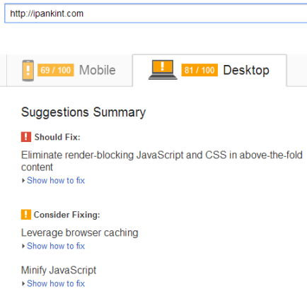 Hasil PageSpeed Insight