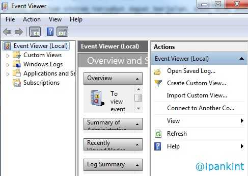 Tampilan Event Viewer Windows 7