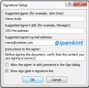 Isian Data Digital Signature