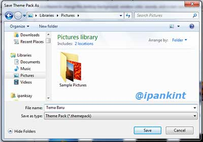 Menyimpan File Theme Windows 7