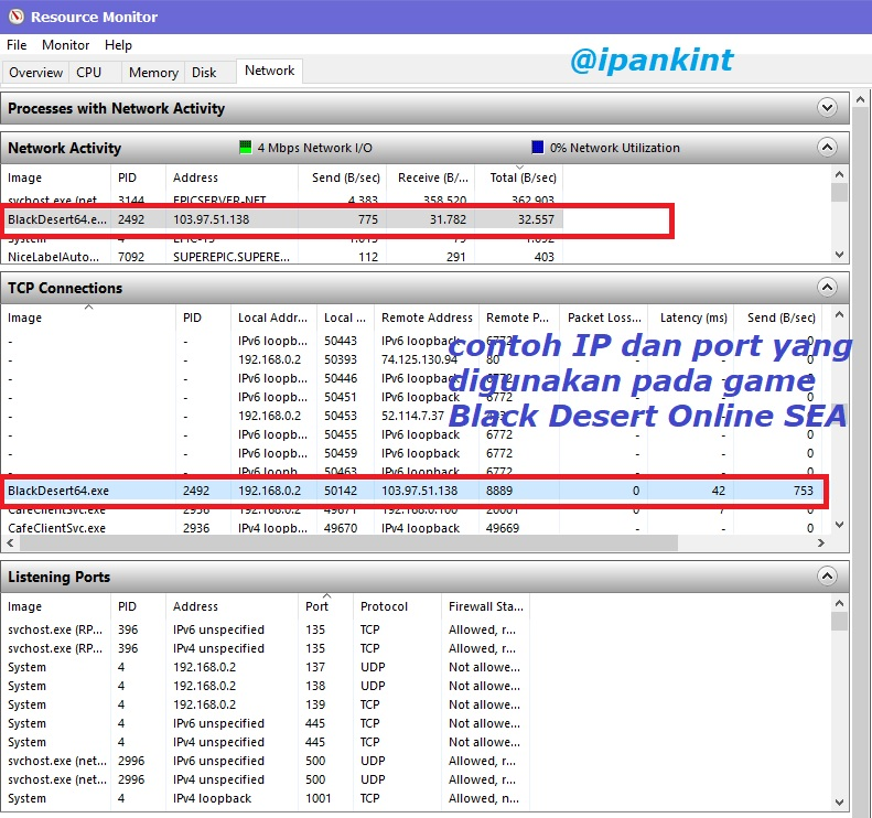 Cek IP dan Port Game Online dengan Resource Monitor Windows 10